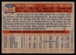 1957 Topps #105  Johnny Antonelli  Back Thumbnail