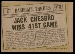 1961 Topps #407   -  Jack Chesbro Baseball Thrills Back Thumbnail