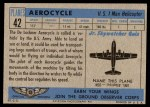 1957 Topps Planes #42 BLU  Aerocycle Back Thumbnail