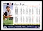 2005 Topps #547  Kevin Brown  Back Thumbnail