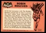 1966 Topps Batman Black Bat #38   Robin Rescued Back Thumbnail
