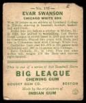 1933 Goudey #195  Evar Swanson  Back Thumbnail