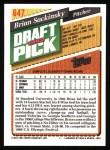 1993 Topps #647  Brian Sackinsky  Back Thumbnail