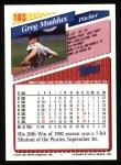 1993 Topps #183  Greg Maddux  Back Thumbnail