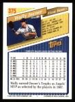 1993 Topps #375  Wally Joyner  Back Thumbnail