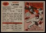 1957 Topps #32  Bobby Layne  Back Thumbnail