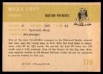 1961 Fleer #178  Billy Lott  Back Thumbnail
