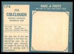 1961 Topps #174  Jim Colclough  Back Thumbnail