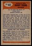 1955 Bowman #65  Buddy Young  Back Thumbnail