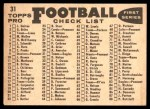 1959 Topps #31   Eagles Team Checklist Back Thumbnail