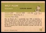1961 Fleer #10  Milt Plum  Back Thumbnail