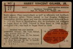 1953 Bowman #27  Harry Gilmer  Back Thumbnail