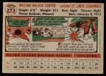 1956 Topps #273  Walker Cooper  Back Thumbnail