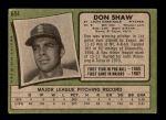 1971 Topps #654  Don Shaw  Back Thumbnail