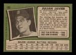 1971 Topps #185  Julian Javier  Back Thumbnail