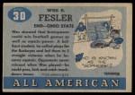 1955 Topps #30  Wes Fesler  Back Thumbnail