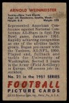 1951 Bowman #21  Arnold Weinmeister  Back Thumbnail