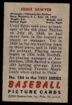 1951 Bowman #184  Eddie Sawyer  Back Thumbnail