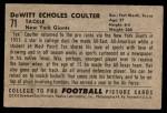 1952 Bowman Small #71  DeWitt Tex Coulter  Back Thumbnail