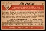 1953 Bowman B&W #44  Jim Delsing  Back Thumbnail