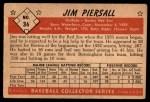 1953 Bowman B&W #36  Jimmy Piersall  Back Thumbnail