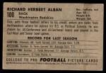 1952 Bowman Small #100  Dick Alban  Back Thumbnail