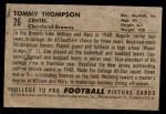 1952 Bowman Small #26  Tommy Thompson  Back Thumbnail