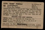 1952 Bowman Small #44  Vito Babe Parilli  Back Thumbnail