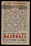 1951 Bowman #10  Red Schoendienst  Back Thumbnail