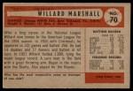 1954 Bowman #70  Willard Marshall  Back Thumbnail