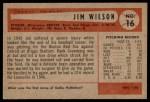 1954 Bowman #16  Jimmy Wilson  Back Thumbnail