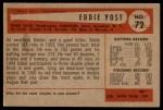 1954 Bowman #72  Eddie Yost  Back Thumbnail