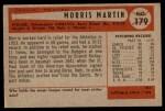 1954 Bowman #179 COR Morris Martin  Back Thumbnail