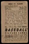 1952 Bowman #172  Ebba St Claire  Back Thumbnail