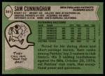 1978 Topps #341  Sam Cunningham  Back Thumbnail