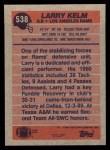 1991 Topps #538  Larry Kelm  Back Thumbnail