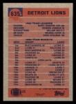 1991 Topps #635   Lions Leaders Back Thumbnail