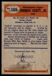 1955 Bowman #105  Tom Scott  Back Thumbnail