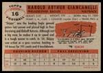 1956 Topps #16  Harold Hal Giancanelli  Back Thumbnail