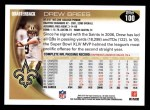 2010 Topps #100  Drew Brees  Back Thumbnail