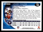 2010 Topps #186  Vince Young  Back Thumbnail