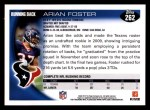 2010 Topps #262  Arian Foster  Back Thumbnail