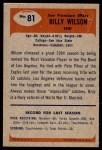 1955 Bowman #81  Billy Wilson  Back Thumbnail