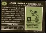 1969 Topps #25  Johnny Unitas  Back Thumbnail