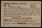 1952 Bowman Large #138  Bob Walston  Back Thumbnail