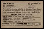 1952 Bowman Large #31  Jim Dooley  Back Thumbnail