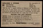 1952 Bowman Large #88  Billy Stone  Back Thumbnail