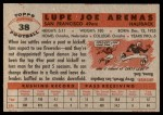 1956 Topps #38  Joe Arenas  Back Thumbnail