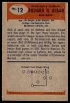 1955 Bowman #12  Dick Alban  Back Thumbnail