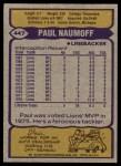 1979 Topps #447  Paul Naumoff  Back Thumbnail
